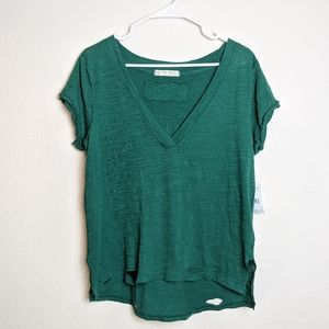 Free People green holes v-neck t-shirt tee small